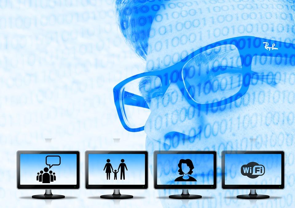 počítače, internet, tvár s okuliarmi